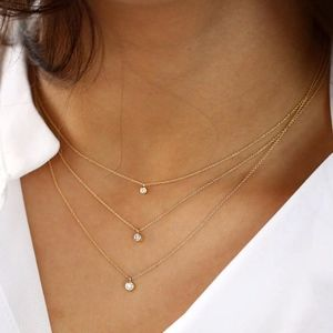 Jewelry - Floating Crystal Triple Layer Gold Choker Necklace